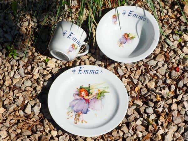 Kindergeschirr Porzellan Set Becher, Teller und Müslischüssel Azura Glöckchen